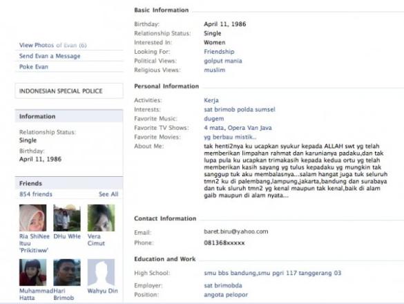 biodata Evan di Facebook